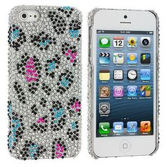 Colorful Leopard Bling Rhinestone Case Cover for Apple iPhone 5 / 5S