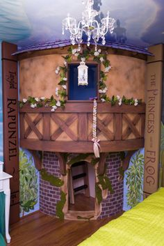 Rapunzel girl's bedroom playhouse with mural Disney Tangled theme. Rapunzel girl's bedroom playhouse with mural Disney Tangled theme. Disney Kids Rooms, Disney Playroom, Disney Mural, Disney Themed Bedrooms, Bedroom Themes, Kids Bedroom, Themed Rooms, Bedroom Ideas, Baby Bedroom