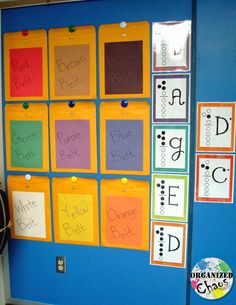 Organized Chaos: Teacher Tuesday: Recorder Karate sheet music organization. Use large mailing envelopes to keep the sheet music sorted and displayed on the wall for students to get their next belt on their own.