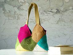 Crochet bag , Patchy crochet purse, Women Bag - Shoulder Bag, patchwork, SALE OFF 20%. $70.00, via Etsy.