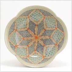 Bowl with Bright Orange Lobster Arch with Turquoise Stars and Navy Crosses