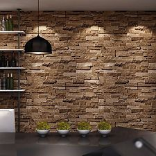 Brick Stone 3D Wallpaper Nature Visual Effect Cleanable Home Wall Treatment NEW