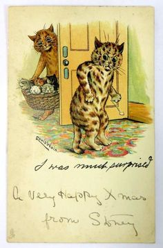 Antique Original Louis Wain Raphael Tuck Postcard I Was Much Surprised 1913 - Ebay £29.95 ONO