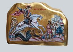 St George, hand painted orthodox icon, The images present to you this beautiful hand painted orthodox icon on rock, created by Bulgarian artist Georgi Chimev. Religious Images, Religious Icons, Religious Art, Byzantine Icons, Byzantine Art, Pebble Painting, Stone Painting, Patron Saint Of England, Orthodox Prayers