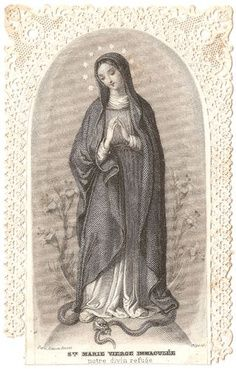 Antique French Lace Holy Card ... Virgin Mary
