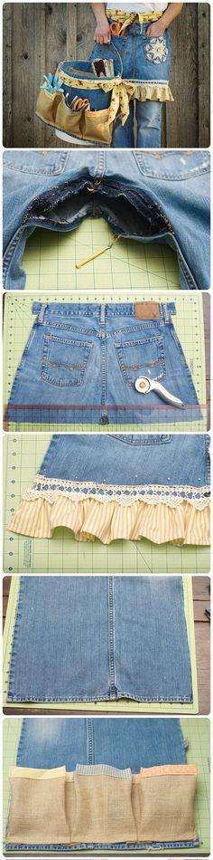 Reutilizar tus viejos vaqueros - coolcreativity.com - DIY Denim Apron and Basket From Old Jeans