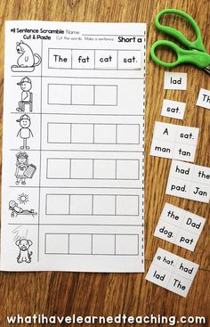 Short A Phonics Worksheets that give students practice read and write short a CVC words. This worksheet has students read four words on a line and arrange the words into a sentence. This is a cut and paste version of the sentences. Short A Worksheets, Phonics Worksheets, Phonics Activities, Kindergarten Worksheets, Free Worksheets, Reading Worksheets, Educational Activities, First Grade Phonics, First Grade Reading
