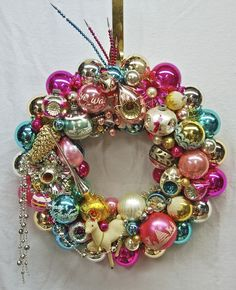 Antique Christmas Ornaments | This is one of my wreaths for 2012. It just sold in the Glittermoon ...