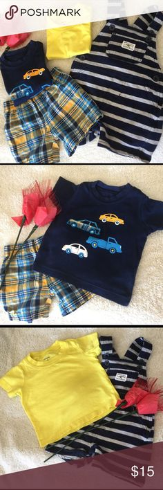 "Bundle of Carter's Items: 1 checkered shorts, 1 yellow shirt, 1 navy blue shirt & 1 striped jumper with 1 front pocket, logo says ""Mommy's little wingman."" All items are in excellent condition. Carter's Other"