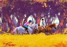 Girls riding horses through fantasy forest Kinderbuch / Childrensbooks Riding Horses, Fantasy Forest, Girls, Painting, Art, Toddler Girls, Art Background, Daughters, Maids