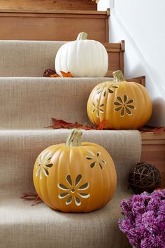 Here's a no-mess alternative to disposable real pumpkins with their icky innards. Carve designs in these pumpkin look-alikes and display them year after year. Illuminate with battery-powered candles, these pumpkins are safe to light indoors.