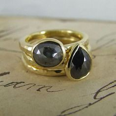 Black Diamond Rose Cut Rings