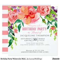 Shop Modern Bridal Luncheon Floral Coral Pink Roses Invitation created by LuxuryWeddings. Bridal Luncheon Invitations, Modern Wedding Invitations, Shower Invitations, Custom Invitations, Invites, Coral Pink, Pink And Green, Purple, Couple Shower