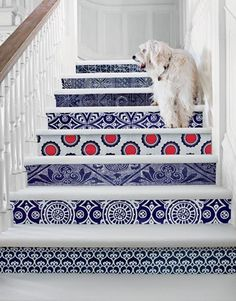 Pretty tile work on stairs. This would also look great with wallpaper, which Lisa has done in her own home