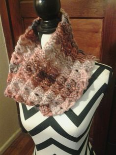 My first broomstick lace stitch cowl. 1 skein  of Yarn Bee Wild Streak. The color is Coral Multi.
