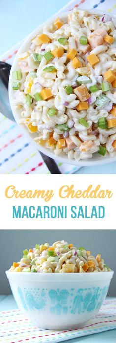 This Creamy Cheddar Macaroni Salad is the perfect summer pasta salad. It's loaded with peppers, celery, onions, chunks of cheddar cheese and elbow noodles, all covered in a tangy sour cream dressing.