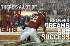"""There's a lot of blood sweat and guts between dreams and success - Paul """"Bear"""" Bryant Sec Football, Football Quotes, Crimson Tide Football, Alabama Football, College Football, Football Season, Youth Football, Baseball, Bear Bryant Quotes"""