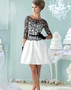 193381fa85d Bateau-cou dos nu trois quarts manches a-ligne courte soirée robe de soirée  taffetas ceintures dentelle 2018 mère de la mariée robes