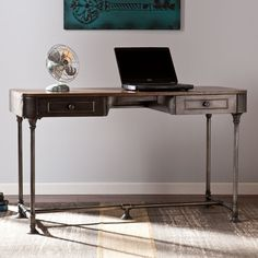 Features:  -Slim design allows for home office or entryway use.  -Broad, wood workspace and 2 office supply drawers.  Desk Type: -Writing desk.  Top Finish: -Brown.  Base Finish: -Dark Gray.  Accent F