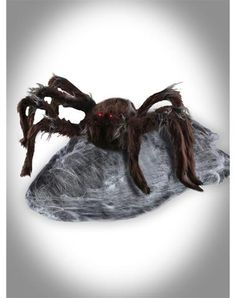 Halloween Prop Animated Jumping Brown Spider - Red Eyes Light Up!