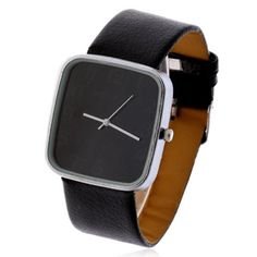 Fashionable Womage Numerals Hour Marks Leather Quartz Wrist Watch for Men 9650 - BLACK