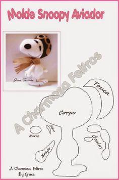 Eu Amo Artesanato: Cachorrinho Snoopy, lápis, esmalte, pudim, bonequinhos, coelhinho de feltro com molde