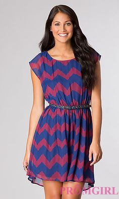High Low Chevron Print Casual Dress by As U Wish at PromGirl.com
