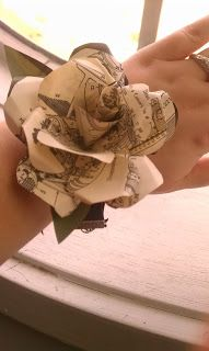 Paper Flower Wrist Corsage - photocopies from Pictorial Webster's Book of Curiosities to make the flower - template here: http://thesteampunkbride.blogspot.com/2012/10/paper-flowers-trial-run.html