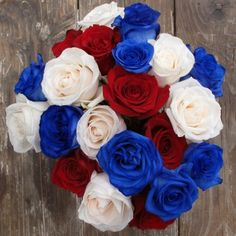 Red, White & Blue Roses from The Bouqs Co  12 roses $40 including S https://www.thebouqs.com/