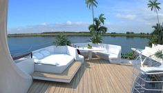 On deck of Orsos, floating island.