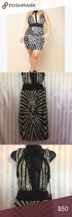 New sequined dress Stretch , Plus size, silver sequin dress, choker address, party dress nwt Dresses