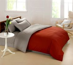 Bch 100% Cotton Pure Color Comforter Set Duvet Cover for Adults Set of 4 Contemporary Concise Style Version AB King Size Queen Size Full Size Red and Gray by Bch, http://www.amazon.com/dp/B00DJSTX6C/ref=cm_sw_r_pi_dp_lx3Xrb1834F9T