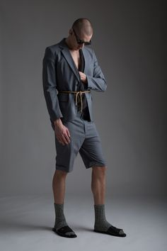 Men's Nom de Guerre Blazer and Shorts, Vintage Men's Issey Miyake Knit Top and Yves Saint Laurent Stefano Piloti Rope Belt. Designer Clothing Dark Minimal Street Style Fashion