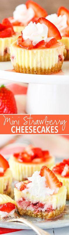 Mini Strawberry Cheesecakes - vanilla cheesecakes full of fresh strawberries!