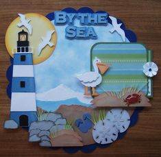 By The Sea Pre Made Scrapbook Page by scrappinwithmom on Etsy, $19.99