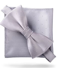Platinum Silver  Glitter Dots  - Bow Tie and Pocket Square Matching Set 30a10398f