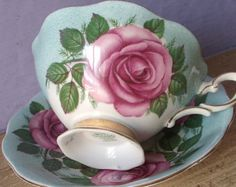 Antique Royal Standard English tea cup set, pink roses tea cup and saucer