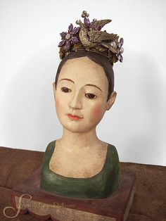 santos crowns | Santos doll Bust on Swag Stand Paper Mache Beautiful Serene Face ...