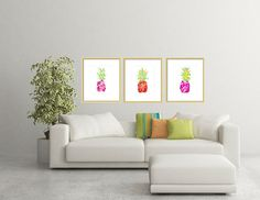 Watercolor Pineapple Art Prints-Set of 3 by LimezinniasDesign