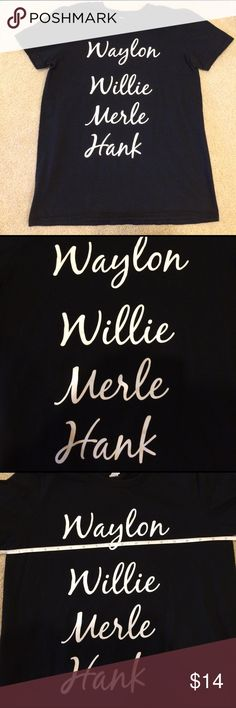 """Country tee Black shirt with the names of country music legends on the front. Size small. Wore it a couple times to concerts. It's just a tad too small for my liking. In great shape.. no holes or stains. It's about 17.5"""" across at the armpit. 100% cotton Tops Tees - Short Sleeve"""