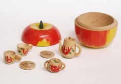 Vintage Wooden Minature Tea Set in Wooden Apple by allthingshomey, $12.50