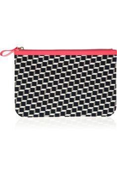 Pierre Hardy|Cube-print cotton-canvas pouch|NET-A-PORTER.COM