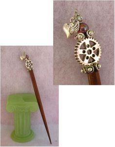 Silver Steampunk Gears & Heart Charm Wooden Hair Stick  http://cgi.ebay.com/ws/eBayISAPI.dll?ViewItem=151011641811