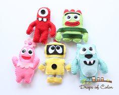 Yo Gabba Gabba - Five Felt Plush Toy Ornaments - Party or Baby Shower Favor - Nursery Decoration - Monster, Robot. $50.00, via Etsy.