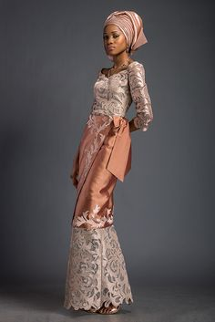 """Mena – Apricot and platinum """"Double wrapper"""" style ensemble. Patterned with Komole Kandids Nectar motif. Double Wrapper is finished with signature Deola """"cadeaux bow-back""""."""