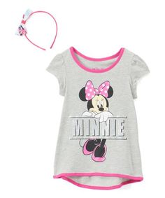 Bolster your little one's look with this top and headband set featuring lively Minnie Mouse themed designs and plush construction for versatile additions to their everyday wardrobe. Little Ones, Minnie Mouse, Toddler Girls, Mens Tops, Cotton, Plush, Construction, Clothes, Gray