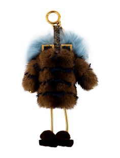 a353d6d135d7 Brown and multicolor mink Fendi Hypnodolls Bag Charm with gold-tone  hardware