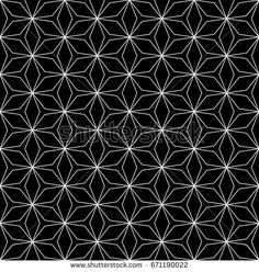 Vector monochrome seamless pattern, subtle repeat geometric floral texture, white thin lines on black background. Abstract mosaic dark wallpaper, simple design element for prints, decor, textile, web