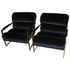 Milo Baughman Gold Tone Chrome Lounge Chairs