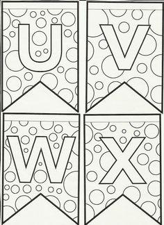 Letras do alfabeto bandeirinhas de Festa Junina para colorir e enfeitar a sala de aula! Alphabet Coloring Pages, Letter Recognition, Flag Banners, Monogram Letters, Alphabet Letters, Hand Lettering, Stencils, Diy And Crafts, Applique